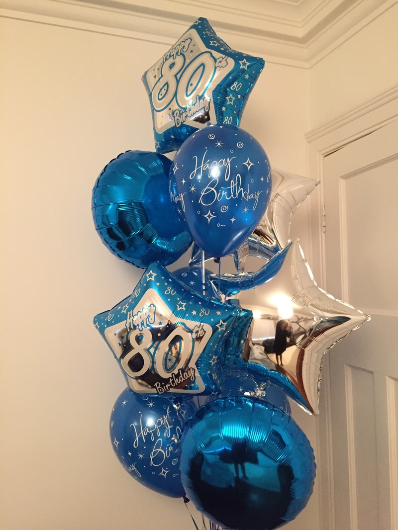 These 10 Blue And Silver Balloons In A Mix Of Foil Latex Were Delivered To An 80th Birthday Celebration At Indian Restaurant Patcham